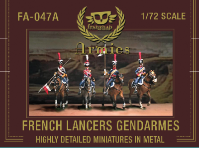 FA-047A French Lancers Gendarmes: set of 4 mounted figures, 2 troopers, 1NCO and 1 trumpet 1/72