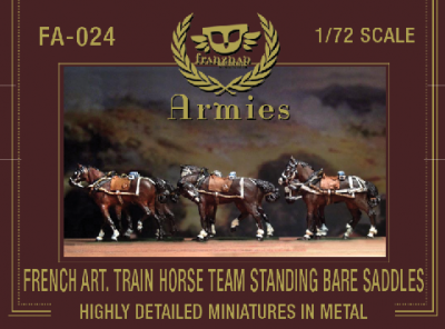 FA-024 - French Artillery Train Horseteam Standin Bare Saddles 1/72