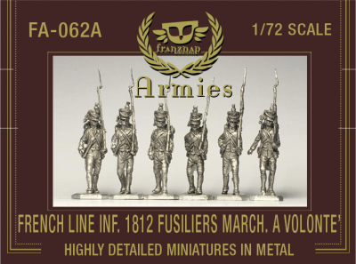 FA-062A : FRENCH LINE INFANTRY 1812 FUSILIERS MARCHING 'A VOLONTE '' metal 1/72