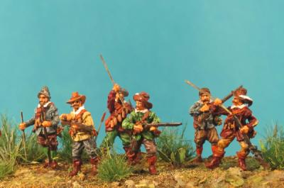 72-5005 - Musketiere - 6 Stck.Muskete ladend 1/72