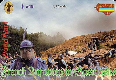 M057 - WW1 French Infantry in Gas Masks 1/72