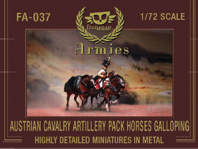 FA-037 - Austrian cavalry Artillery Pack Horses galloping 1/72