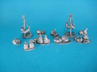 ÄG-13 Egyptians - camp accessories, 11 parts. 1/72