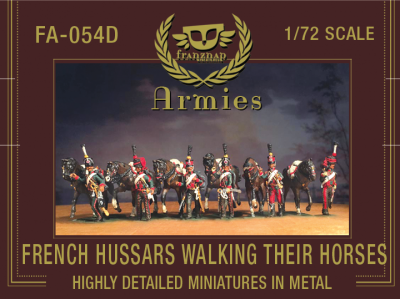 FA-054D : FRENCH HUSSARS WALKING THEIR HORSES Metal 1/72