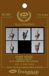 AC-001 - Spare heads French Cavalry : Elite Companies & Sapeurs 1/72