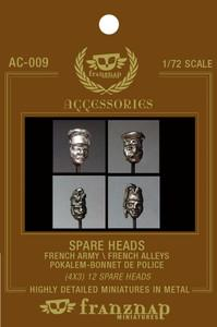 AC-009 - Spare Heads French Army/French Allies : Pokalem & Bonnet de Police 1/72