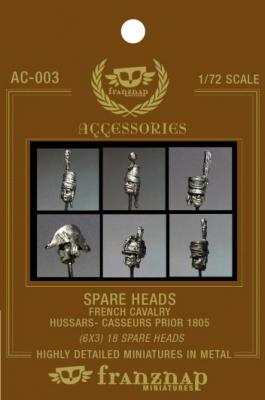 AC-003 - Spare heads French Cavalry : Hussars Chasseurs prior 1805 1/72