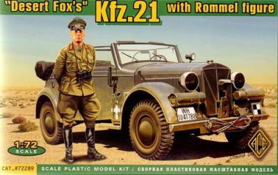 72289 - Desert Fox's Kfz.21 with Rommel Figure 1/72