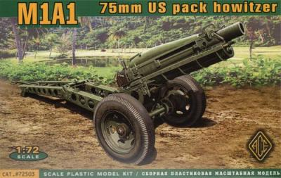 72503 - 75 mm M1A1 U.S. pack howitzer with M8 carriage (airborne) 1/72