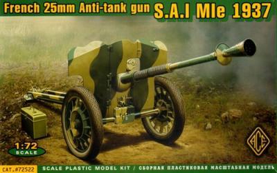 72522 - French 25mm Anti-tank gun S.A.L. Mle 1937 1/72