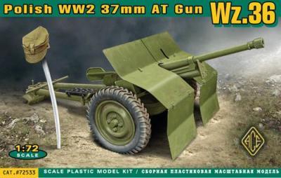 72533 - Polish 37mm anti-tank gun WWII Wz.36 1/72