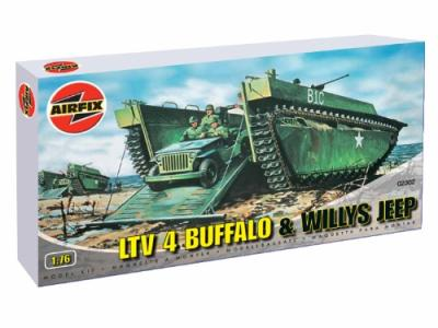 02302 - Buffalo Amphibian and Willys Jeep 1/76
