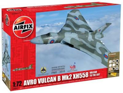 50097 - Avro Vulcan Mk.2 to the Sky - Avro Vulcan Mk.2 XH558. Set includes 9 Acrylic Paints, 2 Brushes and 1 Poly Cement 1/72