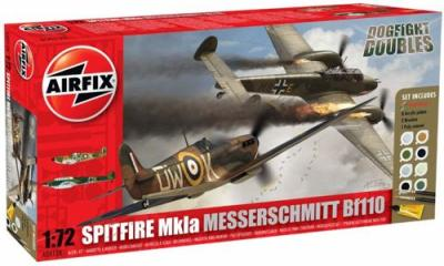 50128 - Supermarine Spitfire Mk.Ia and Messerschmitt Bf 110C / Bf 110D Dogfight Double Starter Set 1/72