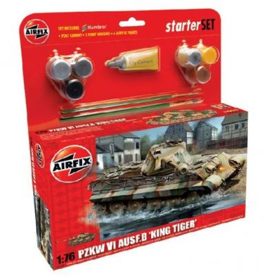55303 - King Tiger Sd.Kfz.182 Starter Set includes Acrylic paints, brushes and poly cement 1/76