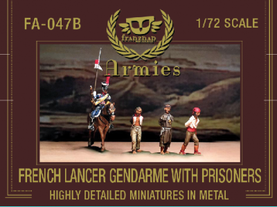 FA-047B : French Lancer Gendarme with prisoners : 1 mounted figure and 3 foot figures. 1/72