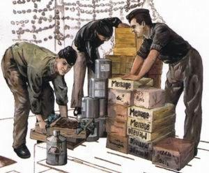 72117 - 3 x crew figures loading provisions for U-Boat Type VIIc 1/72