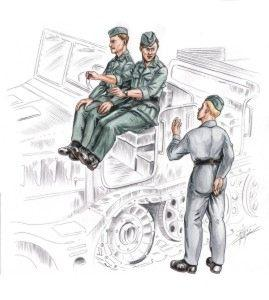 72155 - German (WWII) driver and Personel for FAMO (3 figures) 1/72
