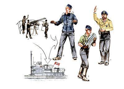 72184 - 3 x gun crew figures for U-VII Atlantic version. Gun Crew for 20mm gun 1/72