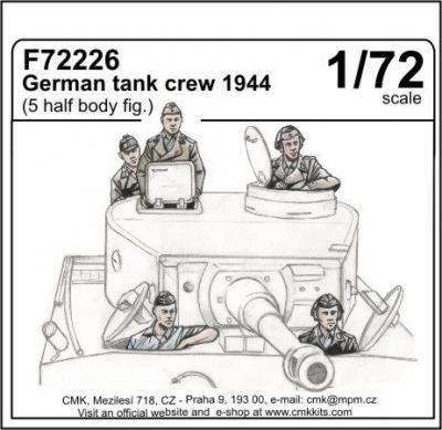 72226 - German 1944 tank crew x 5 upper torso only figures 1/72