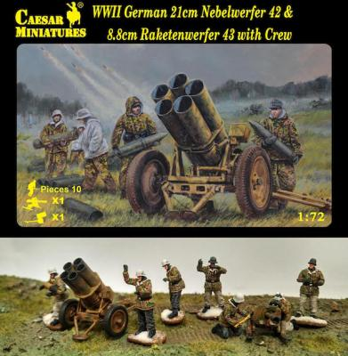 H093 - WWII German 21cm Nebelwerfer 42 and 8.8cm Raketwerfer 43 with crew 1/72