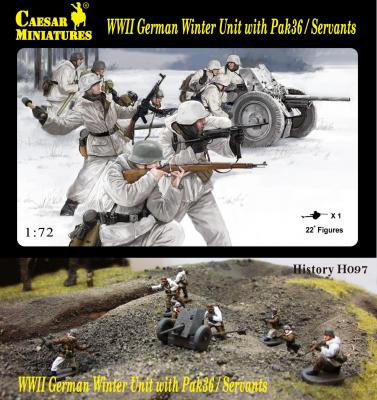 H097 - WWII German Winter Unit with Pak-36 and crew 1/72