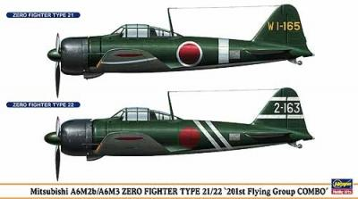 00997 - Mitsubishi A6M2b / Mitsubishi A6M3 'Zero' Type 21 / 22 201st Flying Group combo (2 kits in one box) 1/72