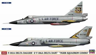 """02035 - Convair F-102A Delta Dagger & Convair F-106A Delta Dart """"Tiger Squadron Combo"""" (Two kits in the box) 1/72"""