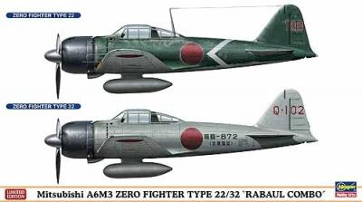 02077 - Mitsubishi A6M3 Zero TYPE 2/32 Rabaul Combo (Two kits in the box) 1/72