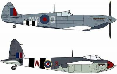 02096 - Supermarine Spitfire Mk.VII & de Havilland Mosquito FB Mk.VI 'Operation Overlord' (2 Kits) 1/72