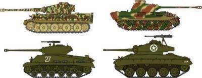 30035 - Pz.Kpfw.VI Tiger I & Panther G VS M4A3E8 Sherman & M24 Chaffee Across The Rhine (4 kits) 1/72
