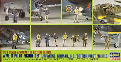X7208 - WWII Pilot set British Japanese, German, American 1/72