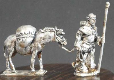 MA-004 - Moine avec son âne et chargement 1/72