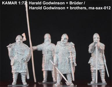 MA-SAX-012 Harald Godwinson avec frères et porte étendard  1/72