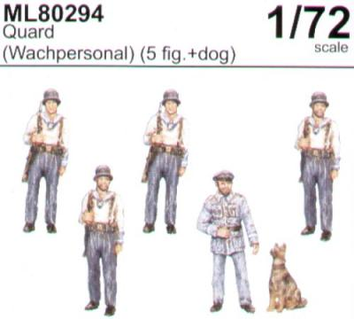 ML80294 - Guards x 5 with Alsatian 1/72