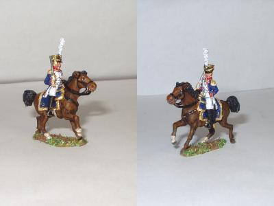 JS72/0543 - Officier français à cheval sabre à l'épaule 1/72