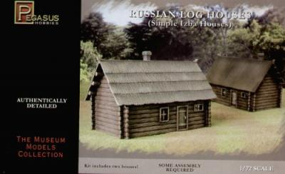 7703 - 2 x Single Storey Log House. (1 x thatch roof 1 x planked roof) 1/72