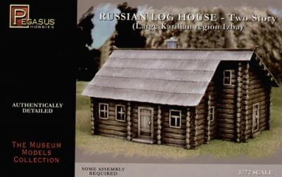 7704 - Two storey Log house with thatch roof. Prepainted 1/72