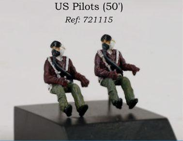 PJ721115 - 2 x US Pilots seated in aircraft 1950's 1/72