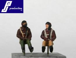PJ721120 - 2 x US pilots WWII seated in aircraft 1/72