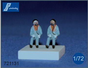 PJ721131 - RAF pilots seated in a/c 1960's. Set of 2 figures suitable for all British jets of the 60s 1/72