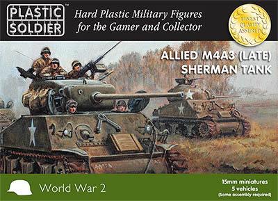 WW2V15014 - Allied M4A3 (Late) Sherman Tanks 15mm