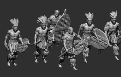 STL Zulu - 8511 marching Zulus of a regiment of married warriors 1/72