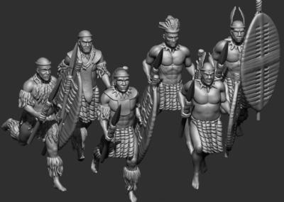 STL Zulu - 8512 running Zulus of a regiment of married warriors 1/72