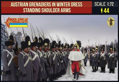 206 - Austrian Grenadiers in Winter Dress Standing Shoulder Arms 1/72