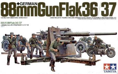 35017 - 88mm 36/37 Flak gun/Crew figures/Motorbike