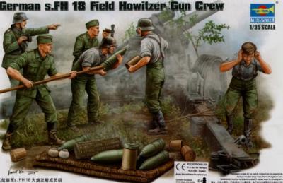 00425 - German WWII s.FH Field Howitzer Gun Crew