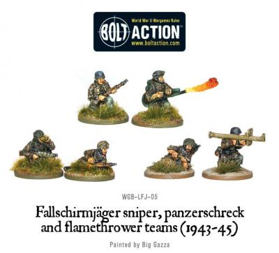Fallschirmjager Panzerschrek, sniper and flamethrower teams (1943-45)
