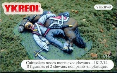YKRIP49 - Cuirassiers russes morts avec chevaux - 1812/14 1/72