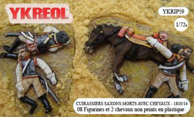 YKRIP59 - Cuirassiers saxons morts avec chevaux - 1810/14 1/72
